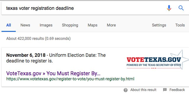 """Google gives wrong answer to question about """"Texas voter"""